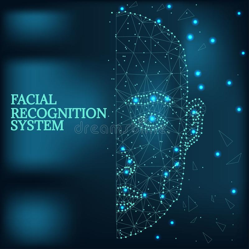 Biometric identification, man face blue 1-2. Illustration of human face consisting of polygons, dots and lines, on futurustic blue background. Biometric royalty free illustration