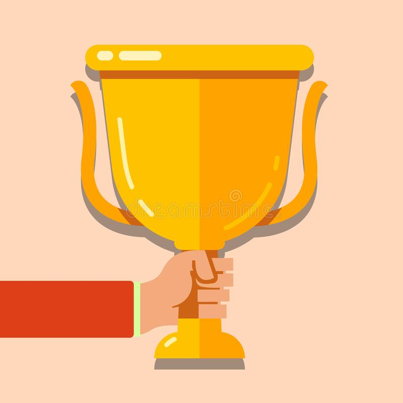 Illustration of Human Hand Holding Championship Cup Icon. Blank Space First Place Winner Trophy Concept photo. Creative stock illustration