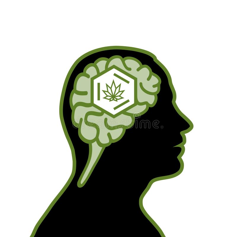Man with cannabis royalty free illustration