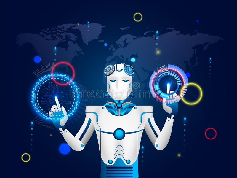 Illustration of humanoid robot working with virtual HUD interface screen for Artificial Intelligence (AI) era or virtual reality. Concept stock illustration
