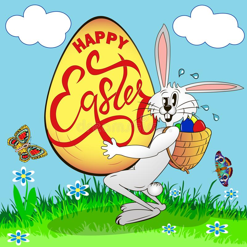 humorous picture on Easter. A sweaty rabbit holds an egg with a greeting vector illustration