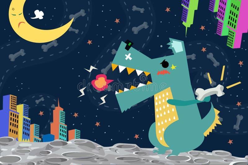 Illustration: Hund-Godzilla-Angriff die Stadt auf dem Raum-Planeten vektor abbildung