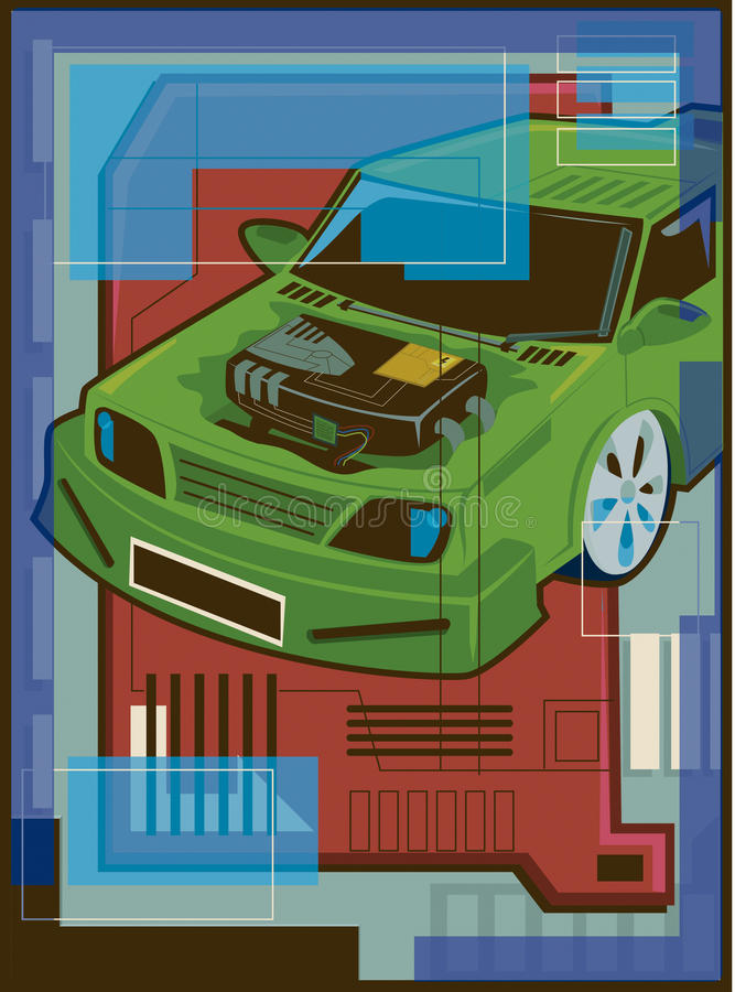 Illustration Of A Hybrid Vehicle Royalty Free Stock Photo