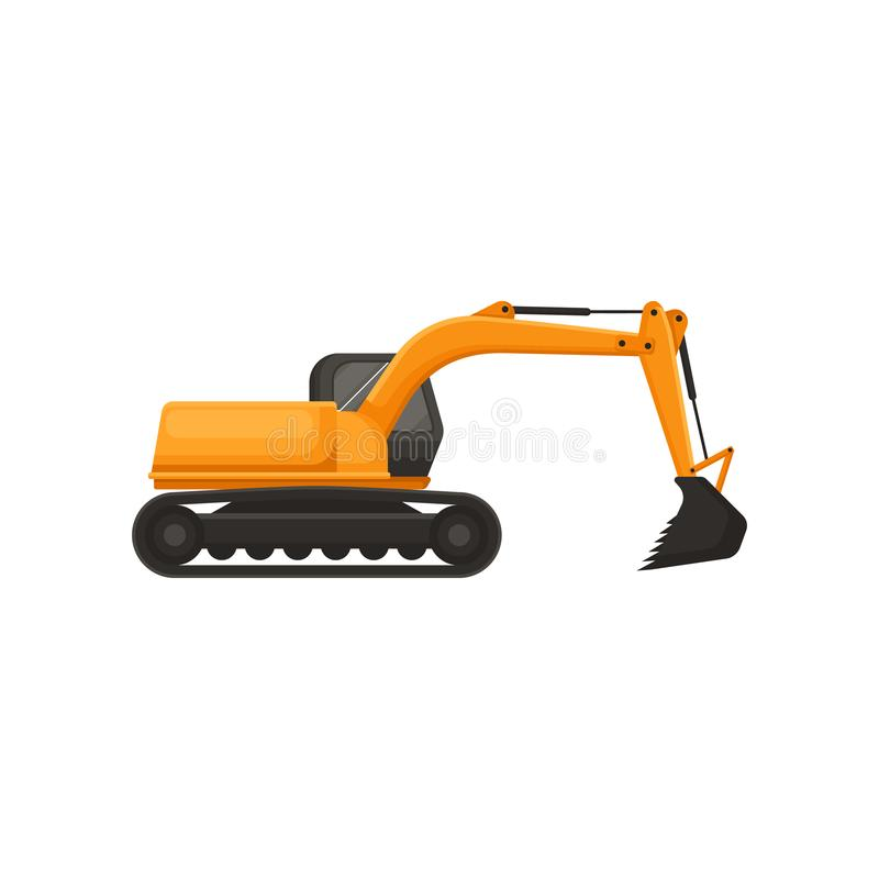 Hydraulic excavator. Heavy equipment with bucket and cab on rotating platform. Machinery using in construction and coal. Illustration of hydraulic excavator stock illustration