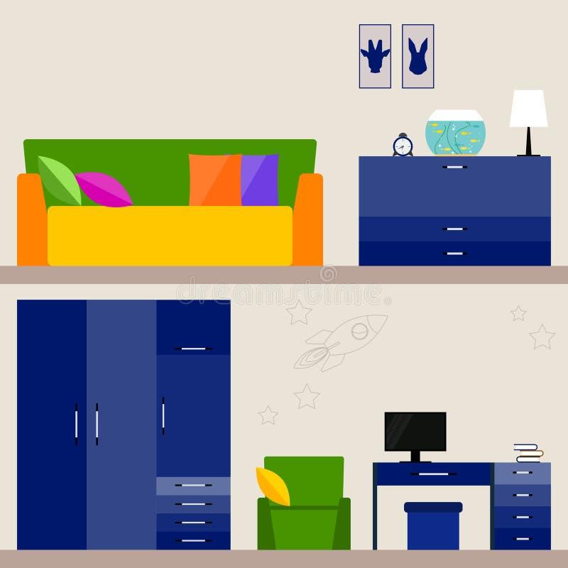 Illustration i moderiktig plan stil med inre för barnrum för bruk i designen för för kortet, inbjudan, affisch, baner, plakat royaltyfri illustrationer