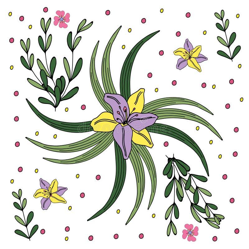 Illustration i stilen av att klottra teckningen hand henne morgonunderkl?der upp varmt kvinnabarn Abstrakta rosa, gula bl?a blomm stock illustrationer