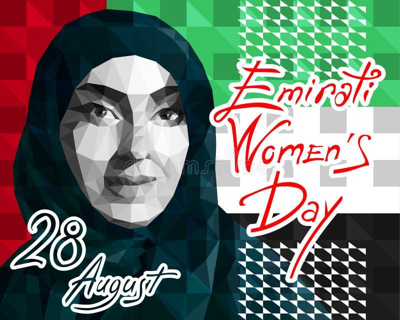 Illustration i stilen av en låg polygon tilldelad till dagen för Emirati kvinnor s royaltyfri illustrationer