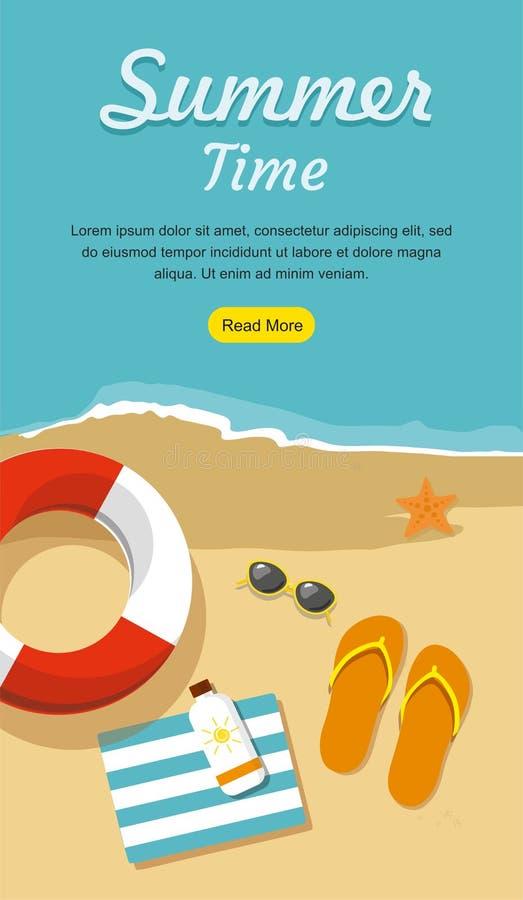 Illustration i vektor Badskor i sandpapprar med handduken, solexponeringsglas och andra vektor illustrationer