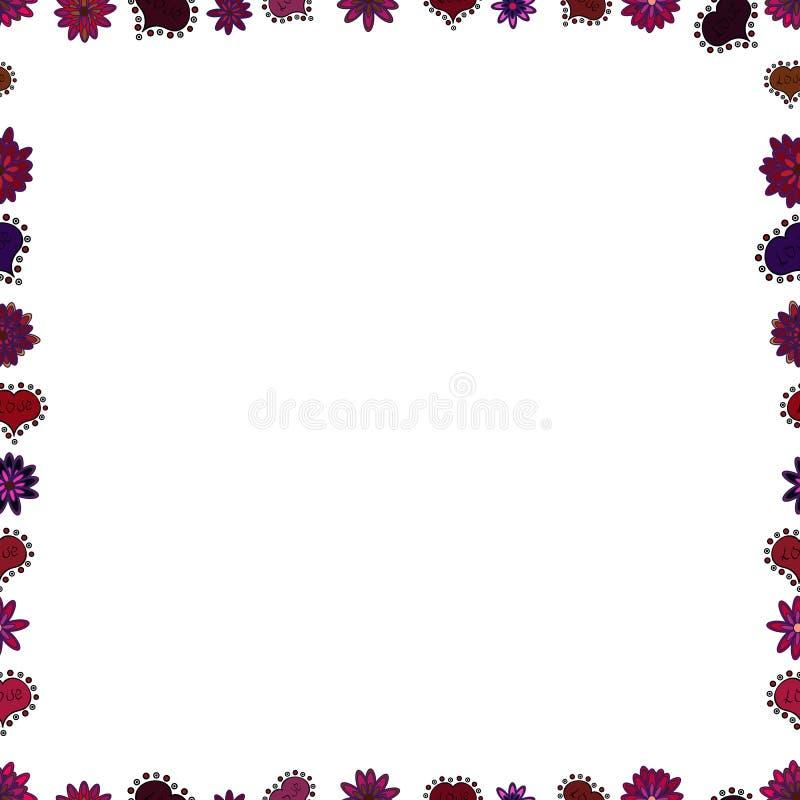 Illustration i violetta, r?da och vita f?rger royaltyfri illustrationer