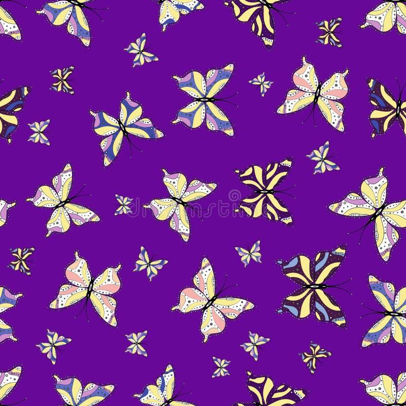 Illustration i vita, violetta och gula färger royaltyfri illustrationer