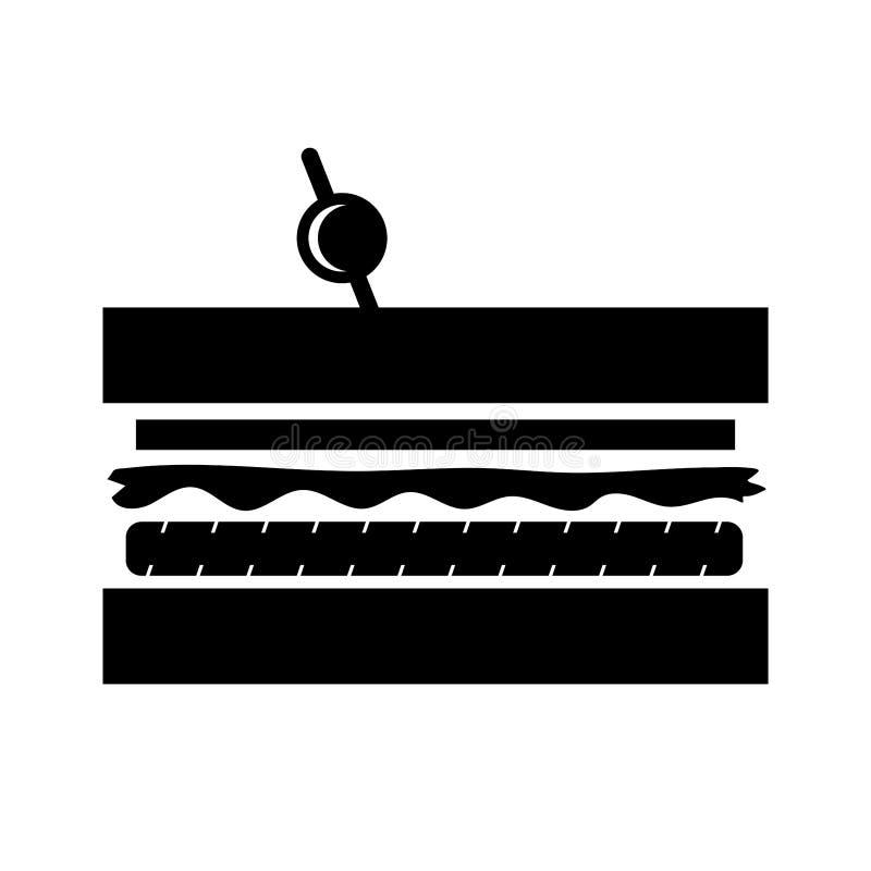 Illustration/icône simples, plates, noires de silhouette de sandwich à club D'isolement sur le blanc illustration libre de droits