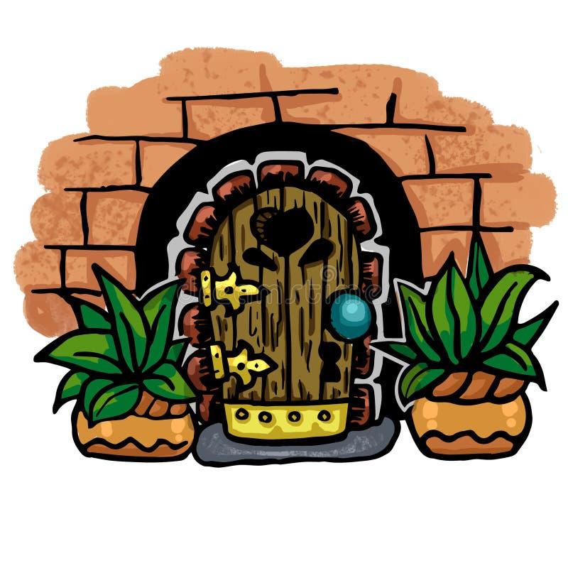 illustration, icônes magiques de porte d'enfants de bande dessinée Conte de fées, imagination, objets magiques illustration stock