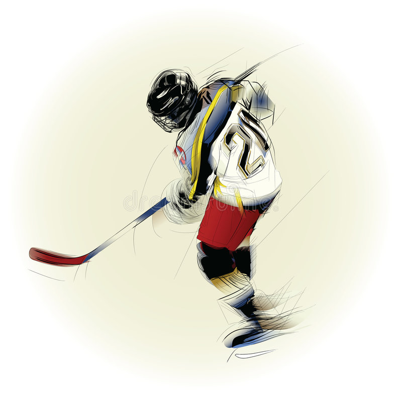 Illustration of an ice hickey player vector illustration