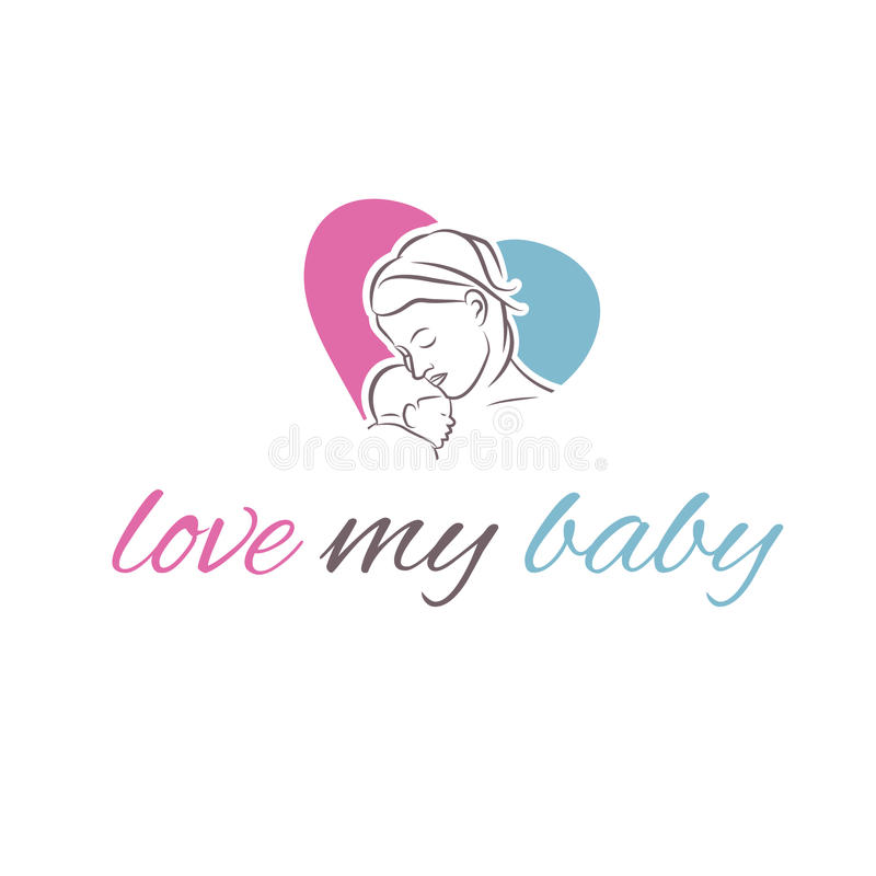 Illustration icon mother and her baby vector illustration