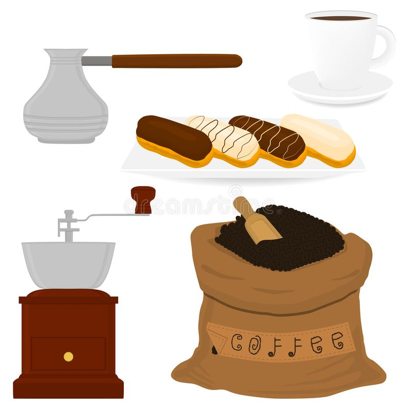 Illustration icon on theme big colored set different types maker sack. New size logo mills. Mill pattern consisting of collection accessory to maker sacks royalty free illustration