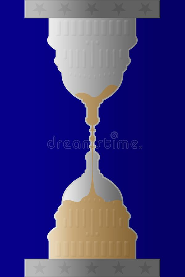 Illustration of idea that time is running out for the White House. On blue background royalty free illustration