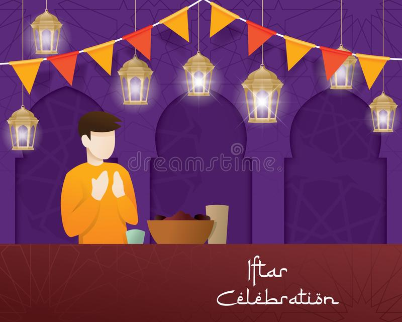 Illustration of Iftar party greeting royalty free illustration