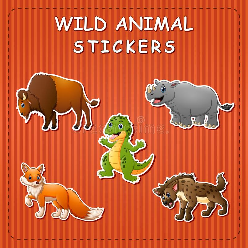 Illustration of cute cartoon wild animals on stickers. Illustration of Illustration of cute cartoon wild animals on stickers royalty free illustration