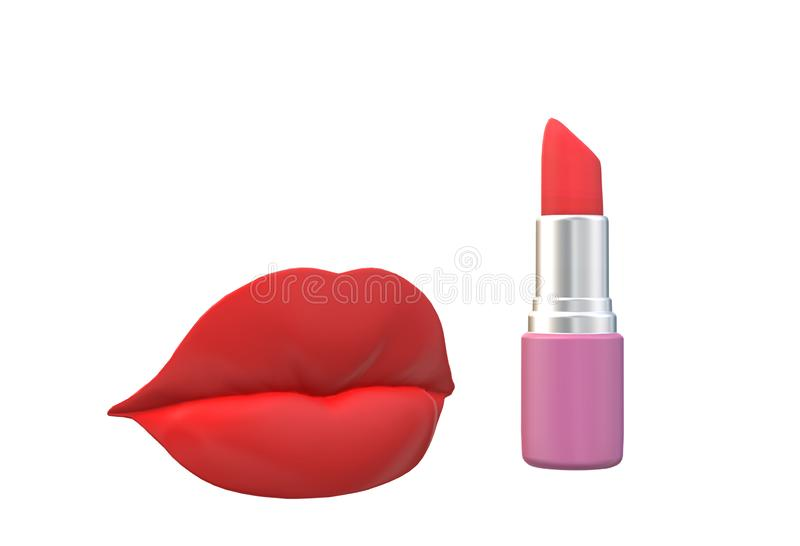 An illustration image of a red lips and a red lipstick stock illustration