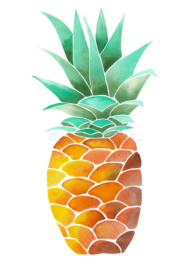 Illustration (image) with yellow watercolor pineapple. Illustration (image) with isolated yellow watercolor pineapple on a white background vector illustration