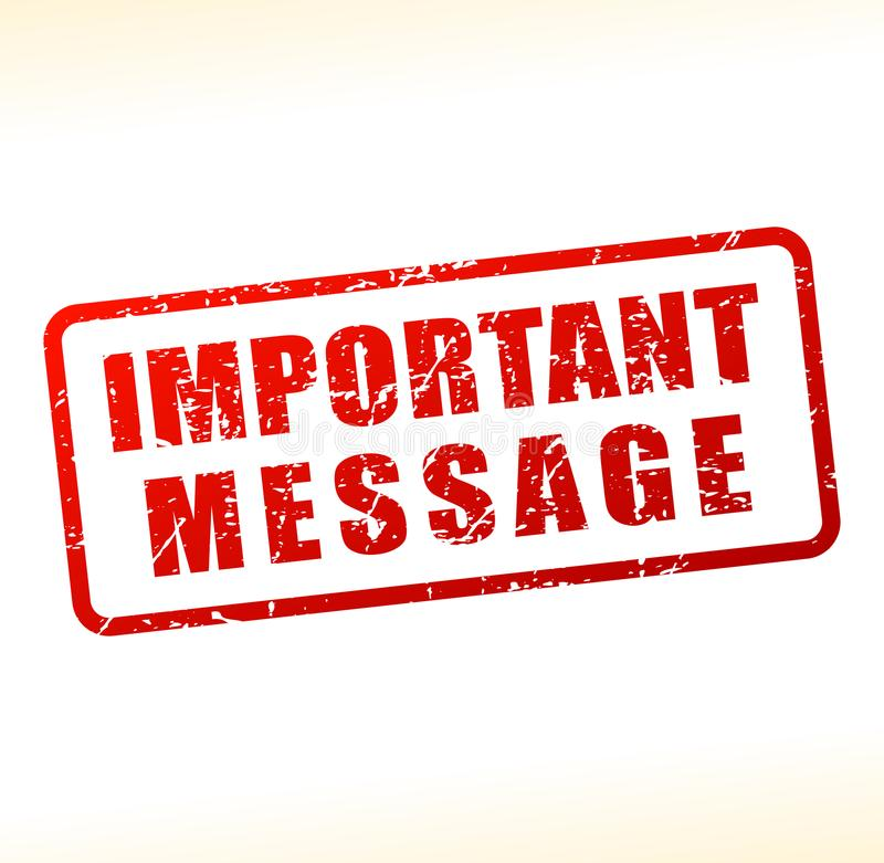 Important message text buffered. Illustration of important message text buffered on white background royalty free illustration