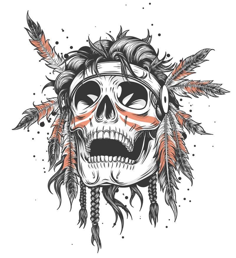 Illustration indienne de crâne illustration de vecteur