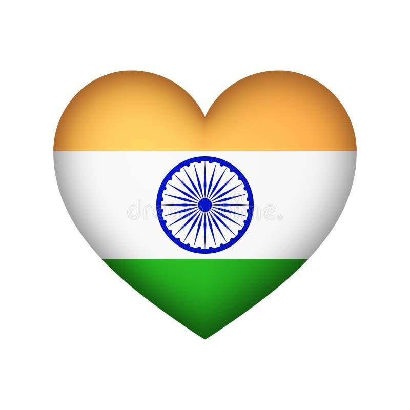Illustration indienne de vecteur de conception de coeur de drapeau illustration de vecteur