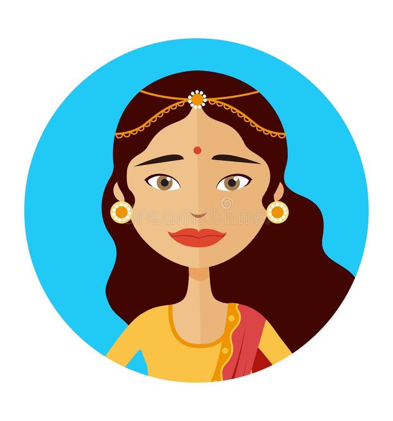 Illustration indienne de vecteur d'avatar de femme illustration de vecteur