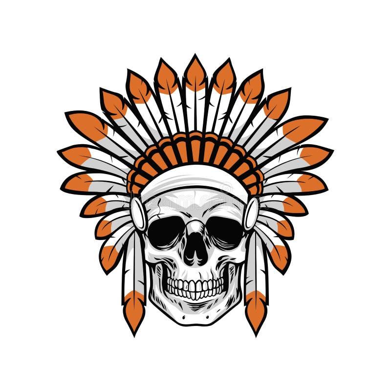 Illustration indienne de vecteur de crâne de Natif américain illustration de vecteur