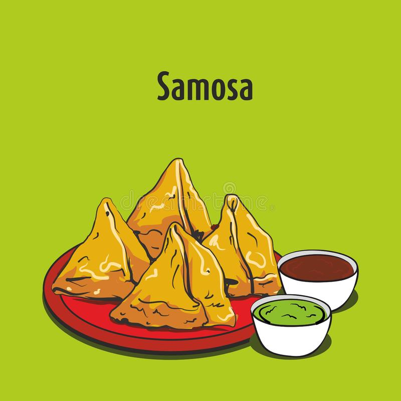 Illustration indienne de vecteur de samosa de nourriture de rue illustration stock