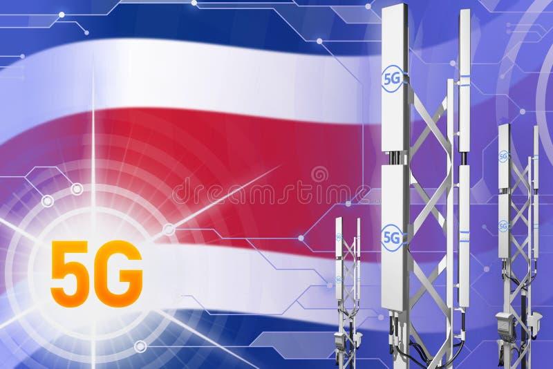Illustration industrielle de Costa Rica 5G, grand mât cellulaire de réseau ou tour sur le fond moderne avec le drapeau - illustra illustration libre de droits