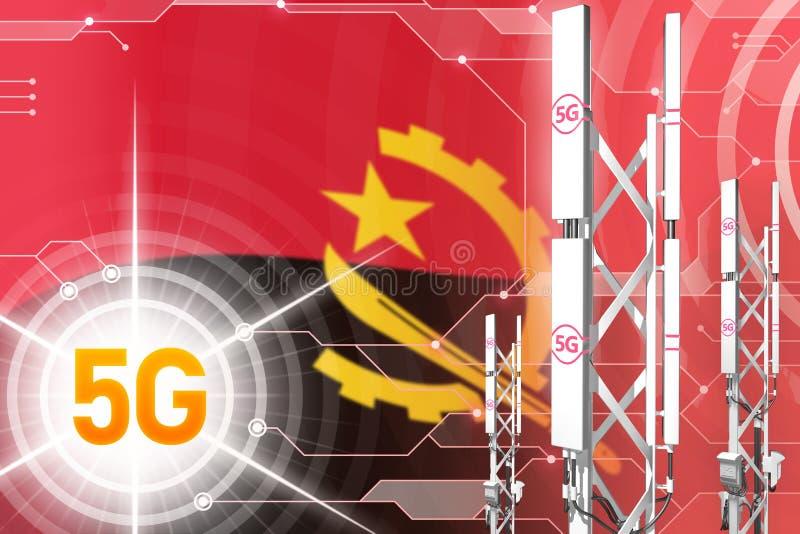 Illustration industrielle de l'Angola 5G, mât cellulaire énorme de réseau ou tour sur le fond numérique avec le drapeau - illustr illustration de vecteur