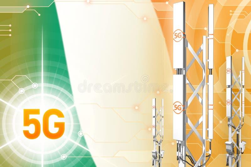 Illustration industrielle de l'Irlande 5G, mât cellulaire énorme de réseau ou tour sur le fond moderne avec le drapeau - illustra illustration libre de droits