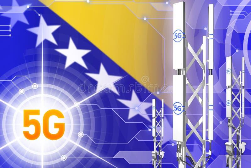 Illustration industrielle de la Bosnie-Herzégovine 5G, mât cellulaire énorme de réseau ou tour sur le fond de pointe avec le drap illustration libre de droits