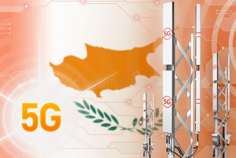 Illustration industrielle de la Chypre 5G, mât cellulaire énorme de réseau ou tour sur le fond numérique avec le drapeau - illust illustration libre de droits