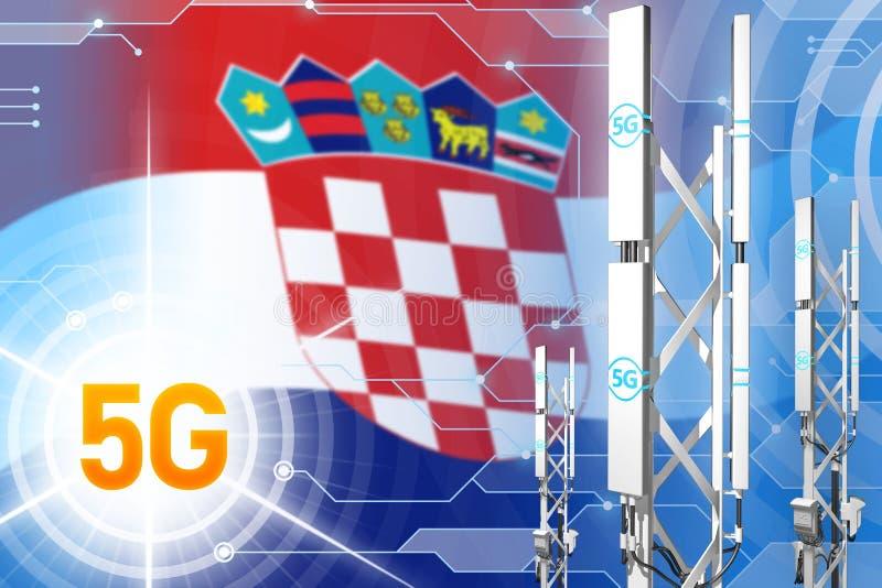 Illustration industrielle de la Croatie 5G, grand mât cellulaire de réseau ou tour sur le fond moderne avec le drapeau - illustra illustration stock