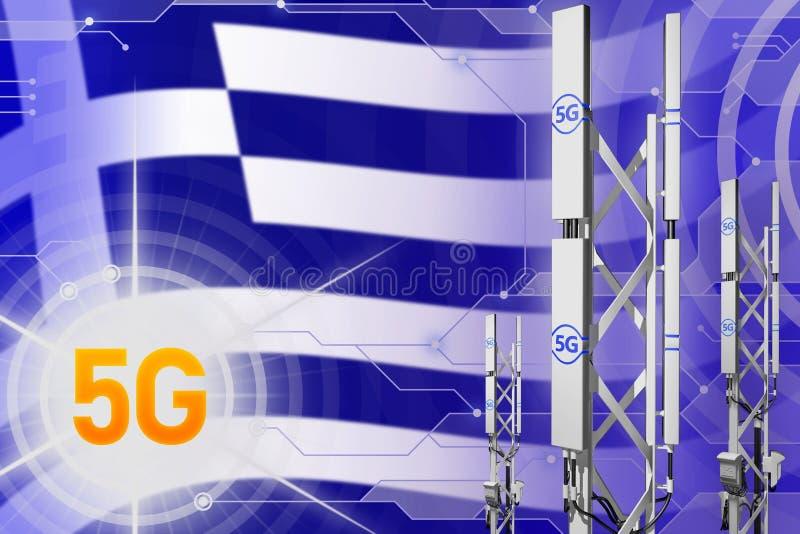 Illustration industrielle de la Grèce 5G, mât cellulaire énorme de réseau ou tour sur le fond numérique avec le drapeau - illustr illustration libre de droits