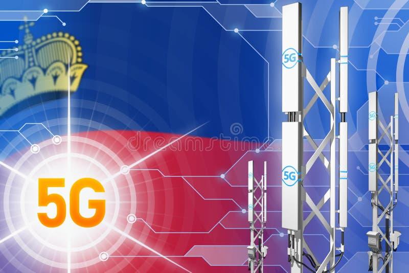 Illustration industrielle de la Liechtenstein 5G, mât cellulaire énorme de réseau ou tour sur le fond numérique avec le drapeau - illustration libre de droits