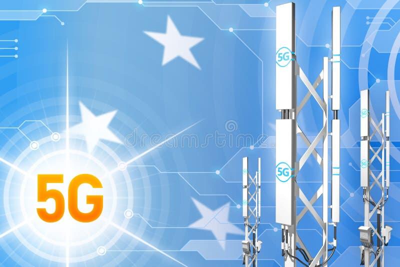 Illustration industrielle de la Micronésie 5G, grand mât cellulaire de réseau ou tour sur le fond moderne avec le drapeau - illus illustration stock