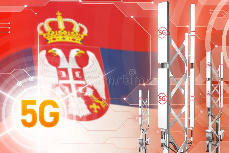 Illustration industrielle de la Serbie 5G, grand mât cellulaire de réseau ou tour sur le fond moderne avec le drapeau - illustrat illustration de vecteur