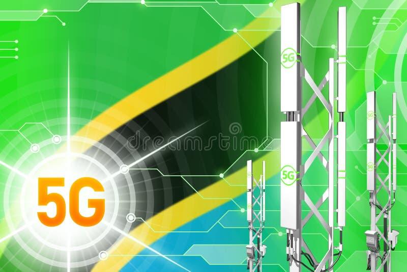 Illustration industrielle de la Tanzanie 5G, mât cellulaire énorme de réseau ou tour sur le fond numérique avec le drapeau - illu illustration de vecteur