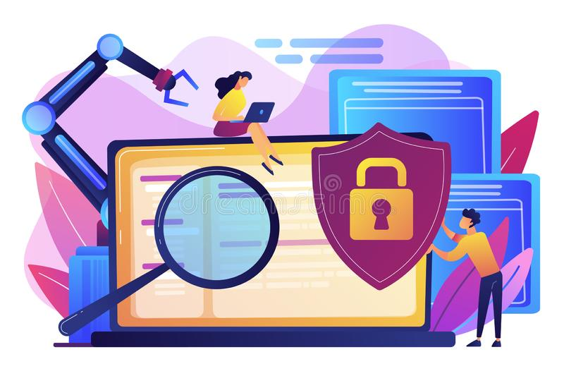 Illustration industrielle de vecteur de concept de cybersecurity illustration libre de droits
