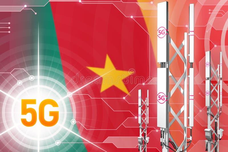 Illustration industrielle du Cameroun 5G, grand mât cellulaire de réseau ou tour sur le fond moderne avec le drapeau - illustrati illustration de vecteur