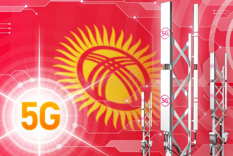 Illustration industrielle du Kirghizistan 5G, grand mât cellulaire de réseau ou tour sur le fond de pointe avec le drapeau - illu illustration stock