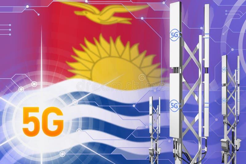 Illustration industrielle du Kiribati 5G, grand mât cellulaire de réseau ou tour sur le fond moderne avec le drapeau - illustrati illustration stock