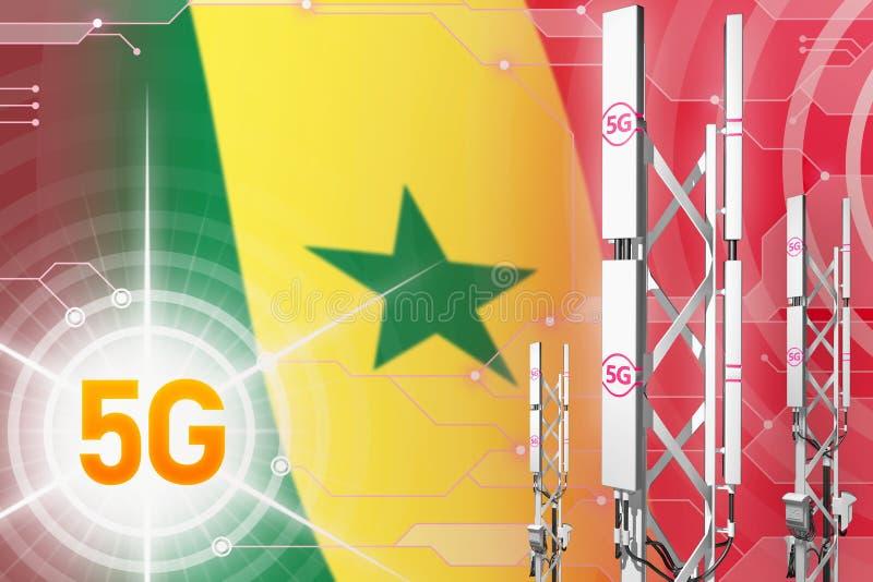 Illustration industrielle du Sénégal 5G, grand mât cellulaire de réseau ou tour sur le fond numérique avec le drapeau - illustrat illustration de vecteur