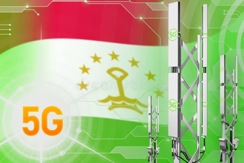Illustration industrielle du Tadjikistan 5G, mât cellulaire énorme de réseau ou tour sur le fond moderne avec le drapeau - illust illustration de vecteur