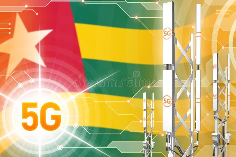 Illustration industrielle du Togo 5G, mât cellulaire énorme de réseau ou tour sur le fond numérique avec le drapeau - illustratio illustration libre de droits
