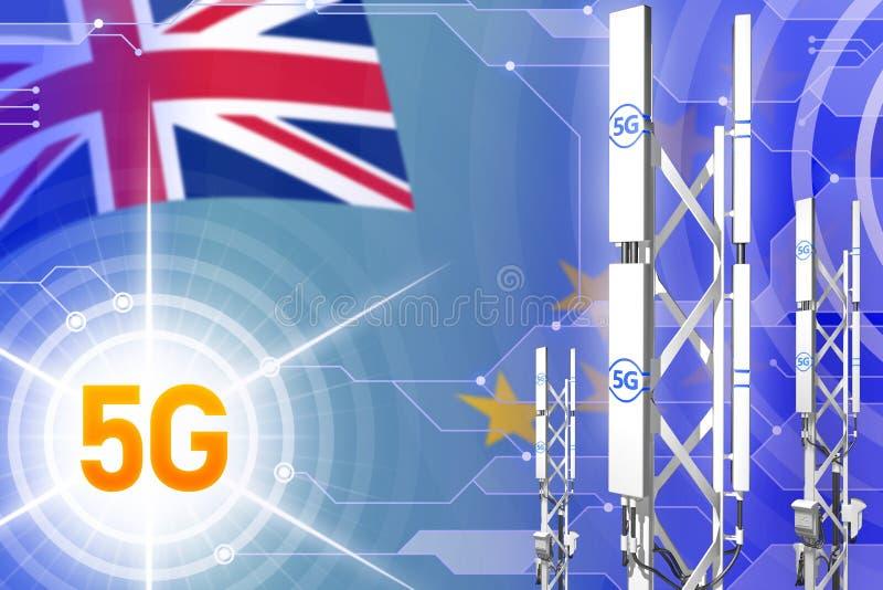 Illustration industrielle du Tuvalu 5G, grand mât cellulaire de réseau ou tour sur le fond de pointe avec le drapeau - illustrati illustration de vecteur
