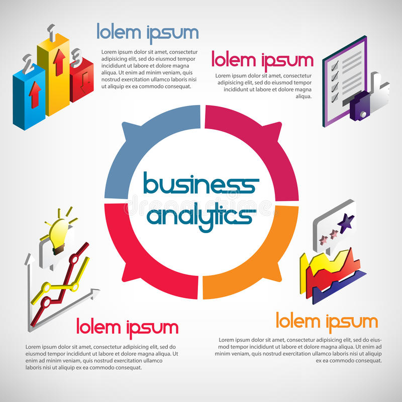 Illustration of info graphic business concept. In isometric 3d graphic vector illustration